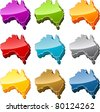 Australia continent map icon button multicolored illustration set - stock vector