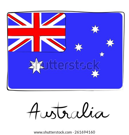 Australia country flag doodle with text isolated on white - stock photo