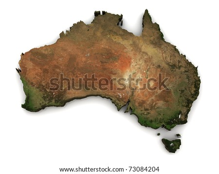 Australia 3D (Topography map comes from earthobervatory/nasa) - stock photo