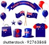 Australia day. Website icons. (flag, balloon, t-shirt, buttons, gift, hat )   Raster version. - stock vector