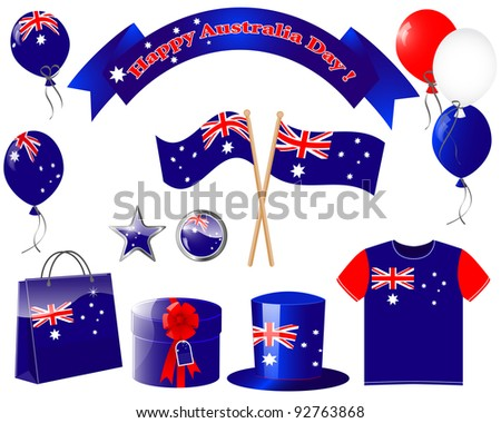 Australia day. Website icons. (flag, balloon, t-shirt, buttons, gift, hat )   Raster version. - stock photo