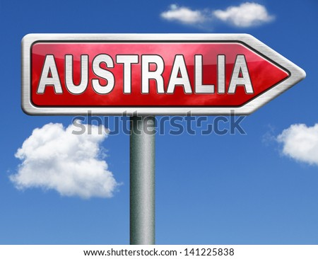 Australia down under continent tourism holiday vacation economy country road sign arrow - stock photo