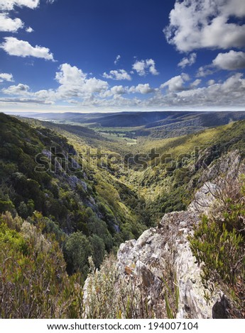 australia evergreen eucalyptus forests and mount ranges view from lookout cliff towards green valley under blue sky - stock photo