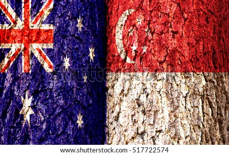 Australia Flag and Singapore Flag over crack and grunge wall texture background. Forex AUDSGD concept.