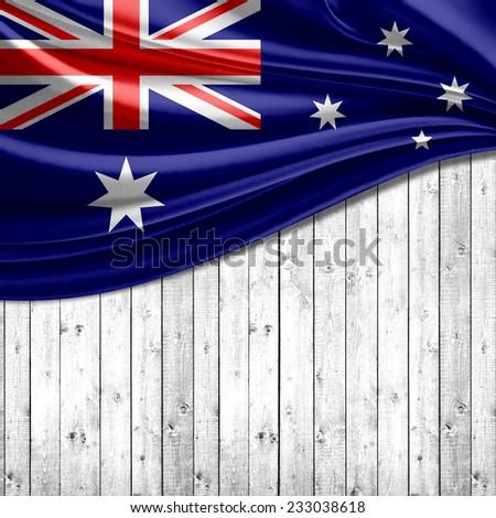 Australia flag and wood background - stock photo