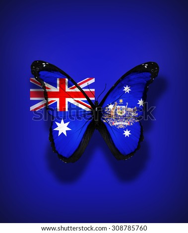 Australia flag butterfly with coat of arms, isolated on flag background - stock photo