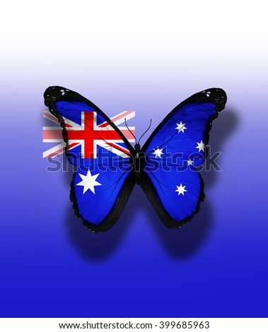 Australia flag butterfly with coat of arms, isolated on flag background