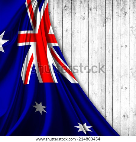 Australia flag fabric and wood background