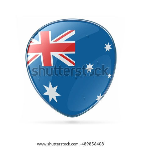 Australia Flag Icon, isolated on white background.