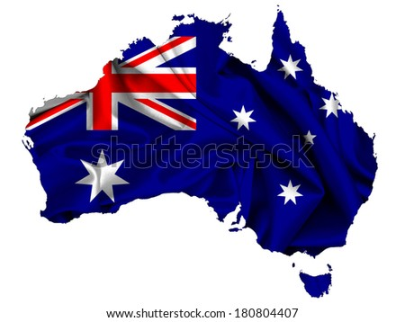 Australia  flag map fabric and white background