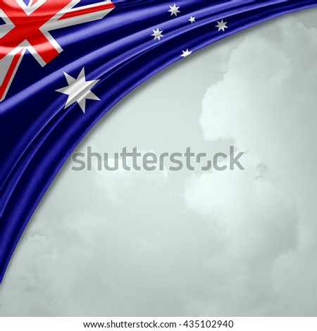 Australia flag  of  silk with copyspace for your text or images and sky background-3D illustration