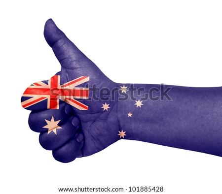 Australia flag on thumb up gesture like icon - stock photo