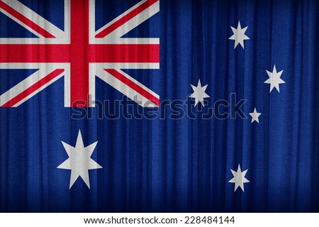 Australia flag pattern on the fabric curtain,vintage style - stock photo
