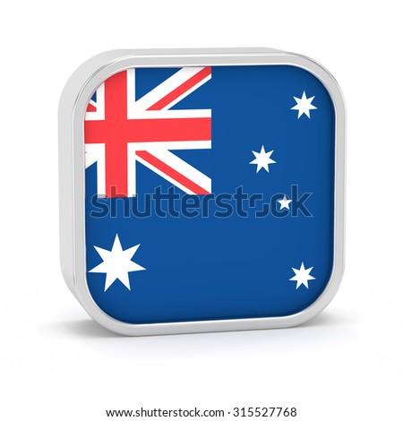 Australia flag sign on a white background. Part of a series. - stock photo