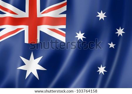 Australia flag, three dimensional render, satin texture - stock photo