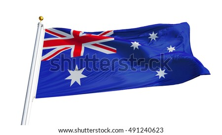 Australia flag waving on white background, close up, isolated with clipping path mask alpha channel transparency