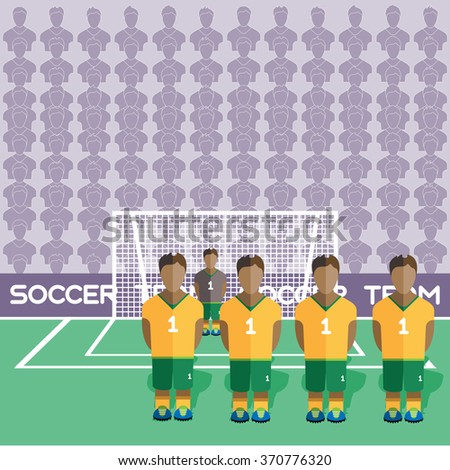 Australia Football Club Soccer Players Silhouettes. Computer game Soccer team players big set. Sports infographic. Football Teams in Flat Style. Goalkeeper Standing in a Goal. Raster illustration. - stock photo