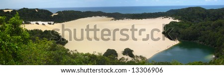 Australia fraser island view lake Wabby - stock photo