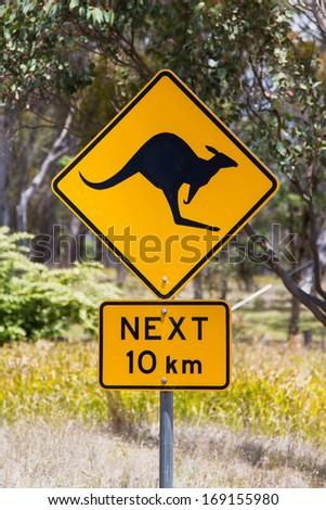 Australia kangaroo sign - stock photo