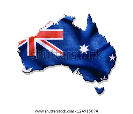 Australia map and flag against white background - stock photo
