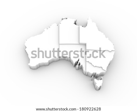 Australia map in white with states stepwise arranged and including a clipping path. High quality 3D illustration.  - stock photo