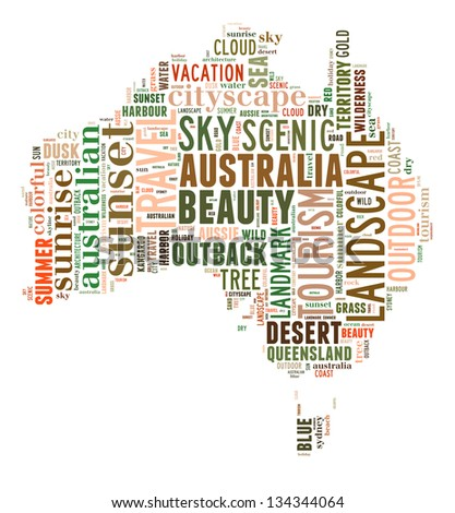 Australia map info-text and graphic arrangement concept on white background (word cloud)