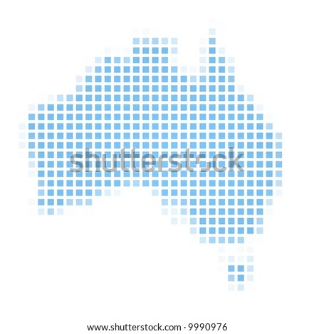 Australia map square mosaic. Easy to recolor. - stock photo