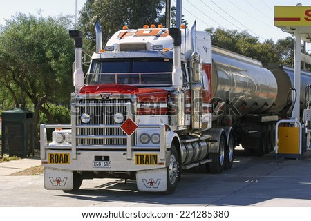 AUSTRALIA - MAY 20: A large Australian truck delivering fuel at a petrol station in Australia, may 20, 2007.