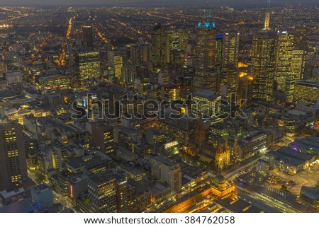 AUSTRALIA, MELBOURNE APRIL 7,2015 : Panorama of Melbourne's city center at night from a high point. - stock photo