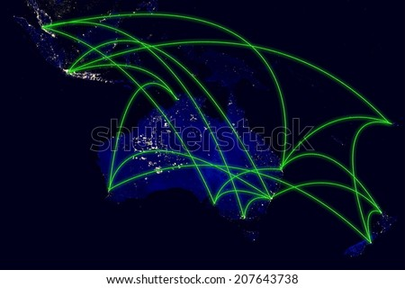 Australia network night map from space. Elements of this image furnished by NASA. - stock photo