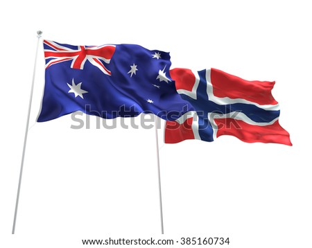 Australia & Norway Flags are waving on the isolated white background - stock photo