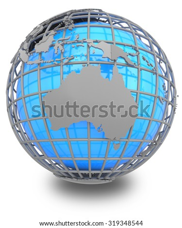 Australia on a grey geographic net enveloping Earth, isolated on white background.