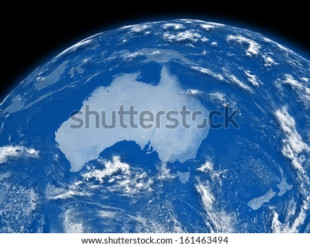 Australia on blue planet Earth isolated on black background. Elements of this image furnished by NASA.
