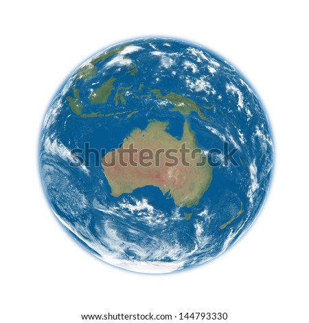 Australia on blue planet Earth isolated on white background. Elements of this image furnished by NASA. - stock photo