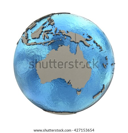 Australia on 3D model of blue Earth with embossed countries and blue ocean. 3D illustration isolated on white background. - stock photo