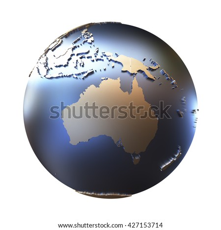 Australia on elegant metallic model of planet Earth with blue ocean and shiny embossed continents with visible country borders. 3D illustration isolated on white background. - stock photo
