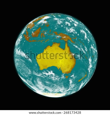 Australia on planet Earth isolated on black background. Elements of this image furnished by NASA. - stock photo