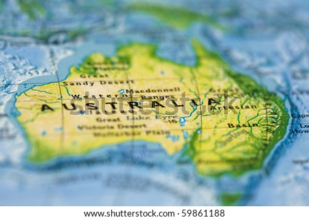 Australia on the Map - stock photo