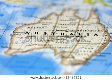 Australia on the map. - stock photo