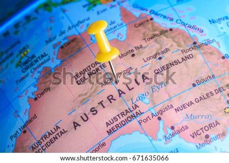 Australia Pinned On Map Oceania Stock Photo Royalty Free 671635066