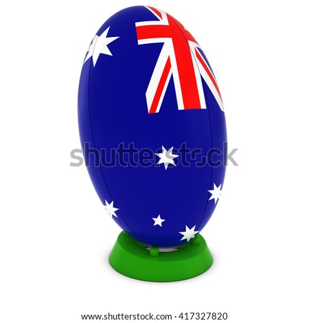 Australia Rugby - Australian Flag on Standing Rugby Ball - 3D Illustration - stock photo