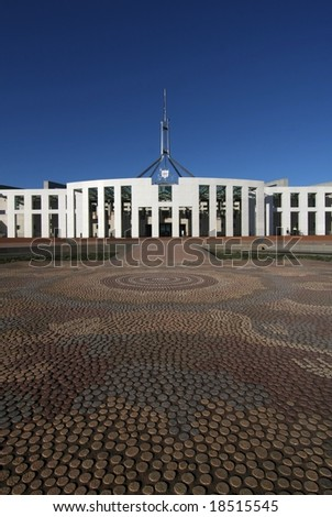 Australia's Parliament House and Aboriginal mosaic forecourt - Canberra - stock photo