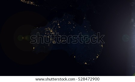 Australia Satellite Space View - Planet Earth Map Composition (Elements of this image furnished by NASA)