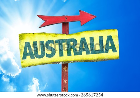 Australia sign with sky background - stock photo