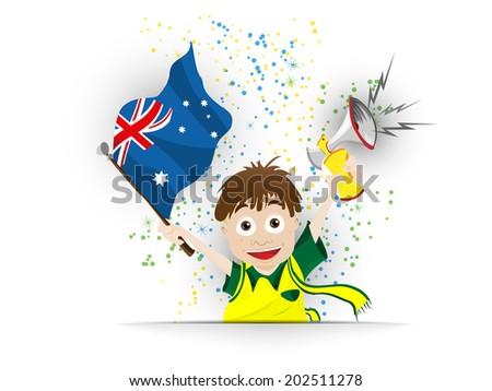 Australia Soccer Fan Flag Cartoon - stock photo