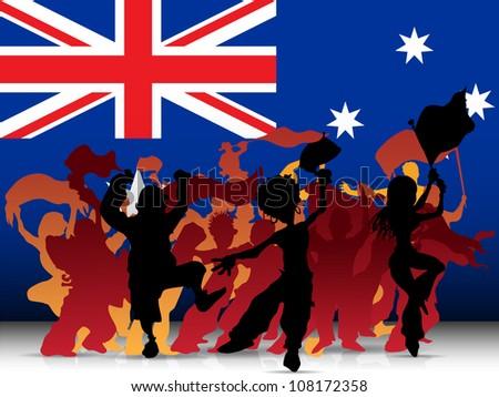 Australia Sport Fan Crowd with Flag - stock photo