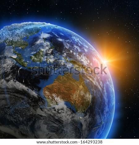 Australia sunrise. Elements of this image furnished by NASA - stock photo