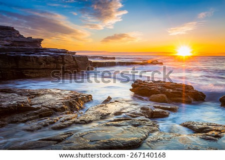 Australia sunrise seascape. - stock photo