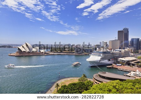 Australia Sydney CBD landmarks around Sydney Harbour view from Harbour Bridge lookout on a sunny summer day
