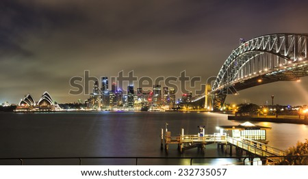 AUstralia Sydney CBD landmarks city skyscrapers and harbour bridge arch after sunset brightly illuminated from dwarf to circular quay